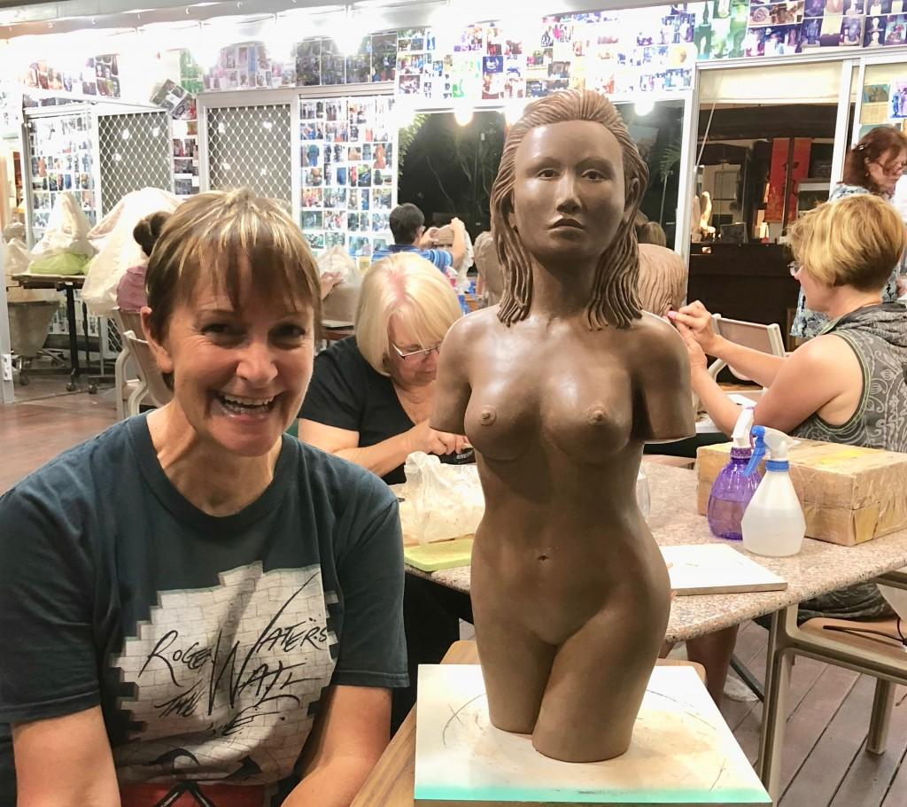 Hazel has now completed her first clay female torso