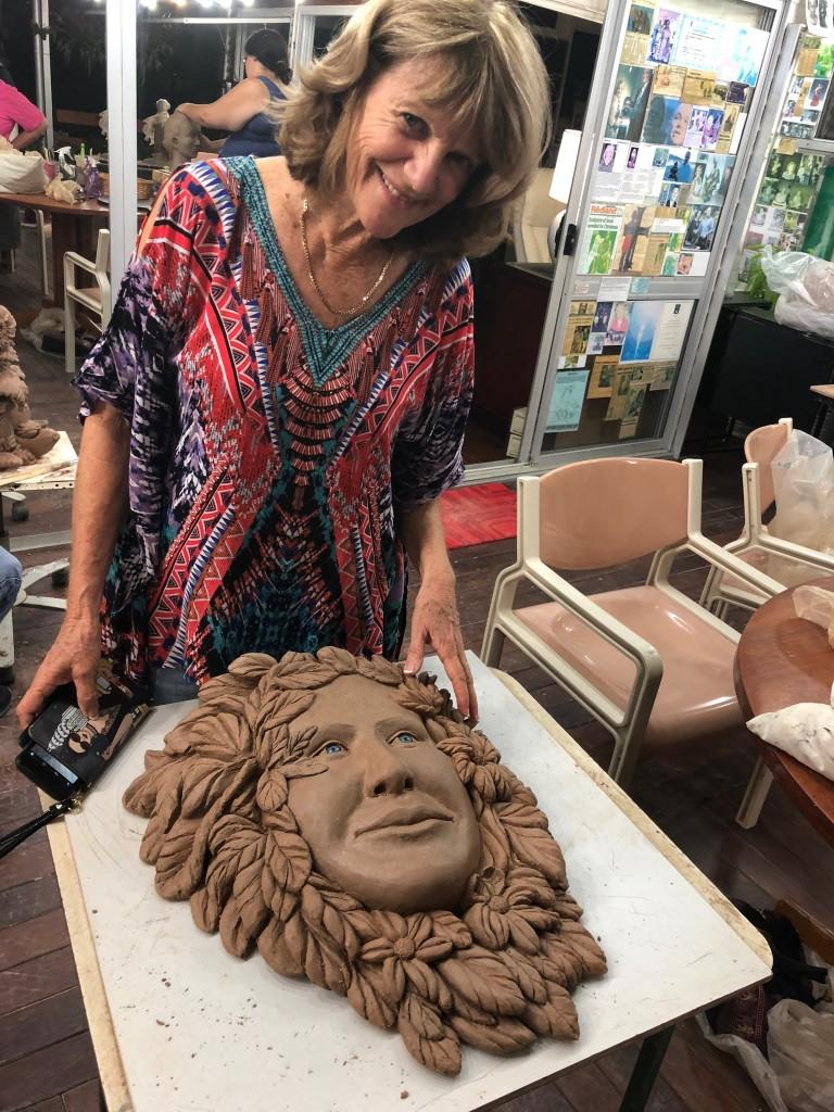 Maurines now carved out relief of her sculpture
