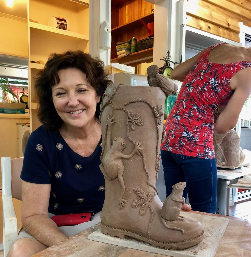 Sheryl's clay one off original sculptured flower pot boot