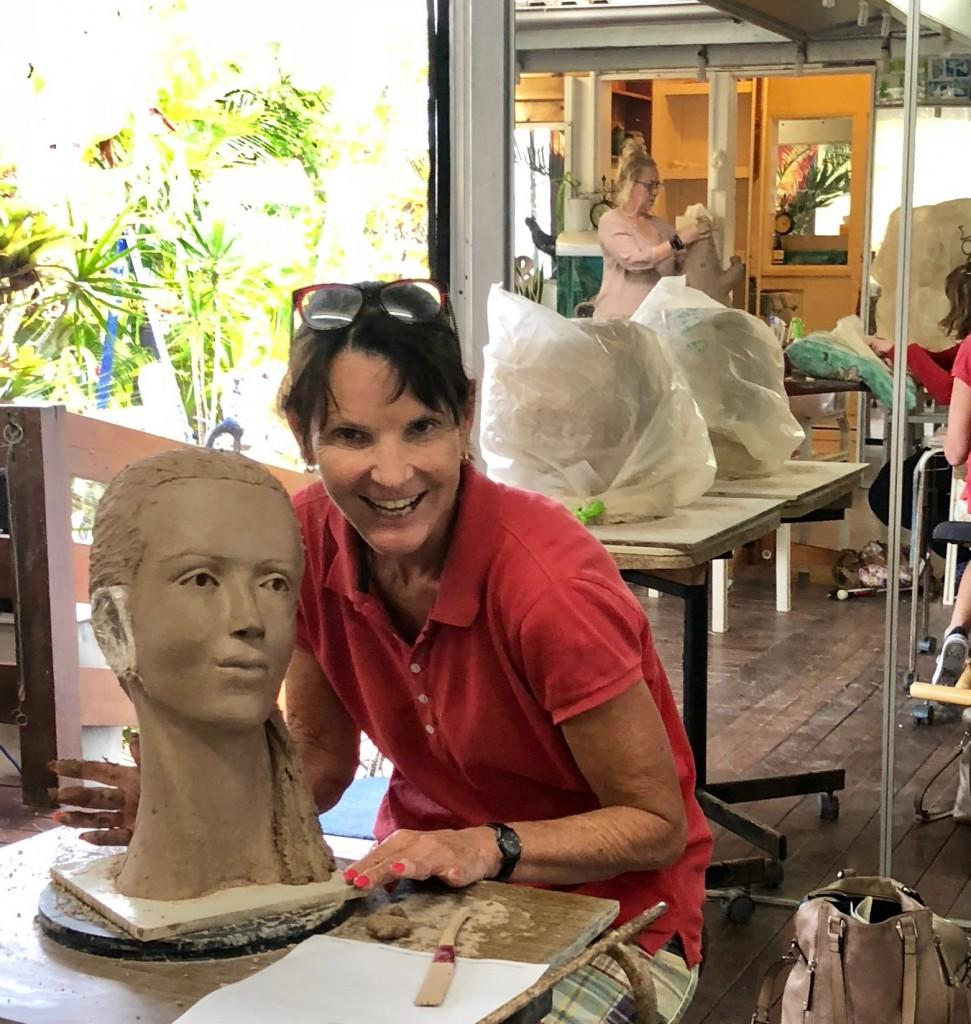 Art class where Barb is now sculpting her first head.