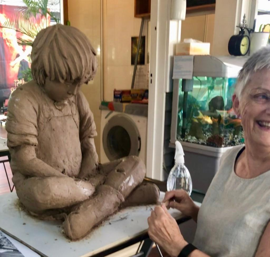 Sculpture being created during the art class