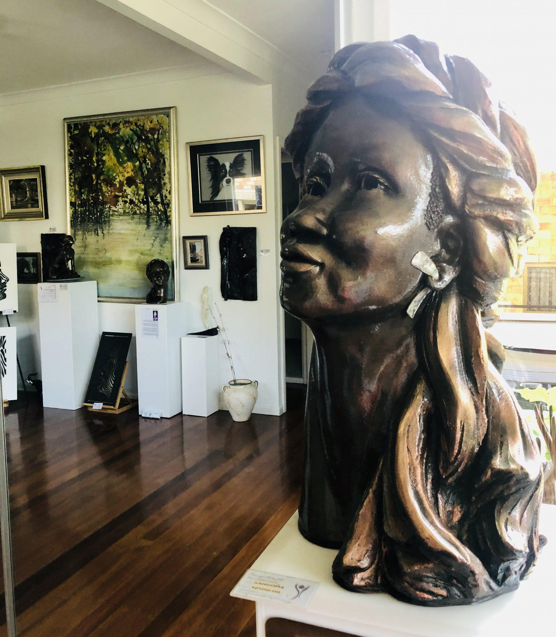 African, Original Clay Sculpture of a woman in my Gallery