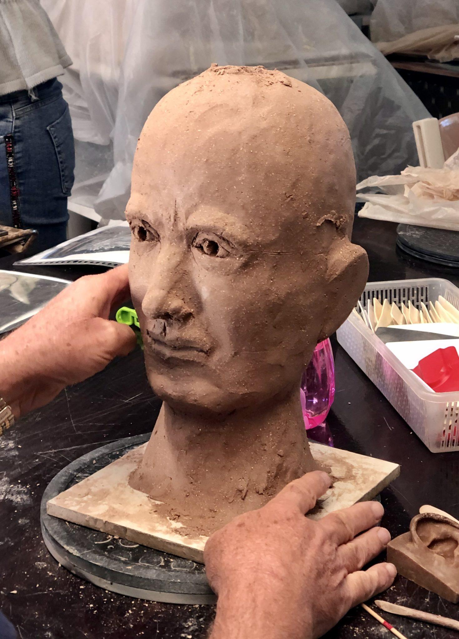 progressing very well with his first clay head sculpture