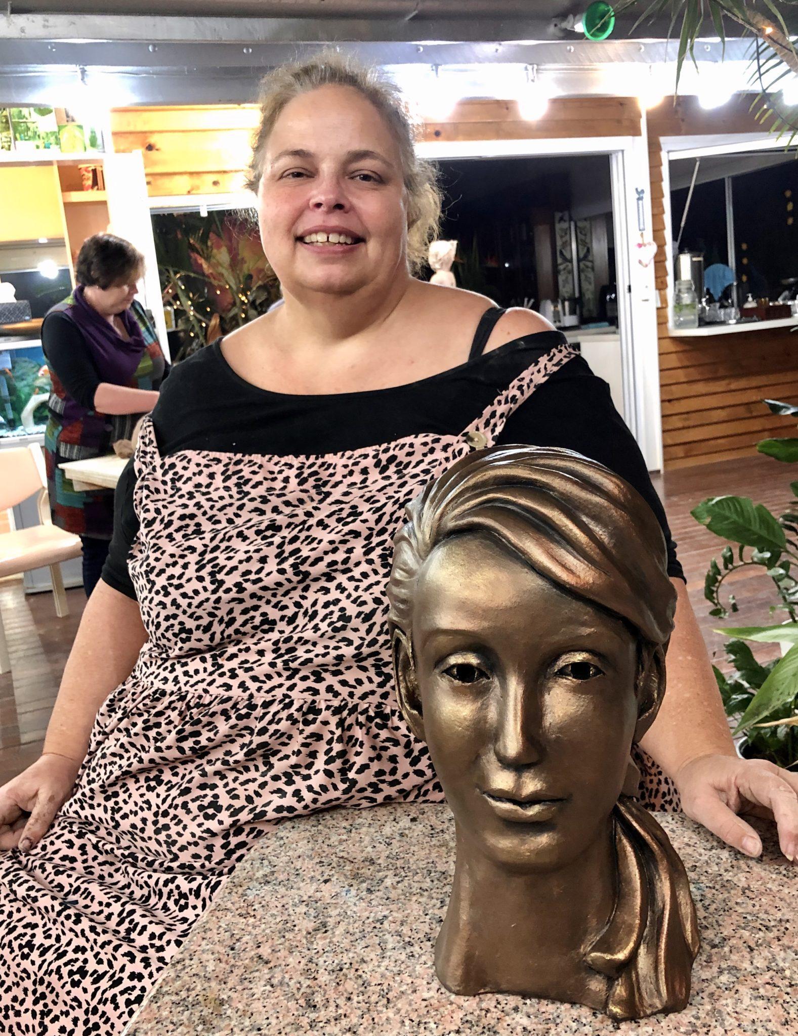 Bronzed her first beginners clay head sculpture at the art class